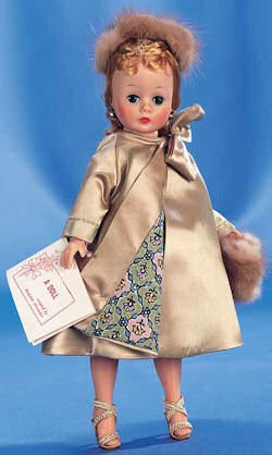 1957 Madame Alexander Cissette Doll Wearing Beige Theater Dress & Coat