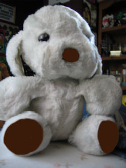 1983 Gund Dogfeat White Dog with Leather Nose & Paws