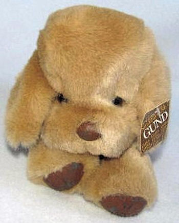 , Searching – 1983 Gund Dogfeat White Dog with Leather Nose & Paws