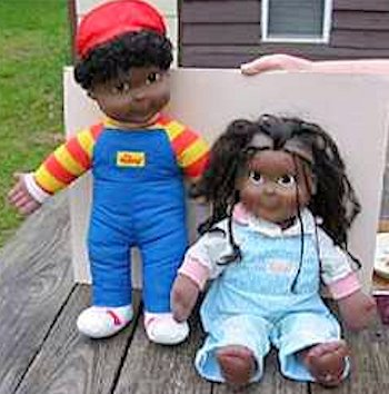1986 Hasbro Black My Buddy and Kid Sister Dolls