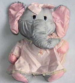 1987 Potpourri Press Puffalump Gray Elephant Pink Dress