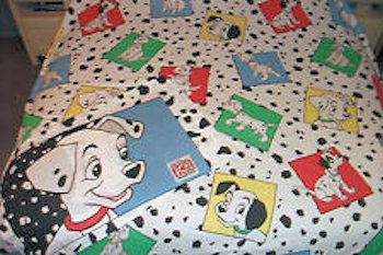 1992 Bibb Co. Quilted Toddler 101 Dalmatians Blanket