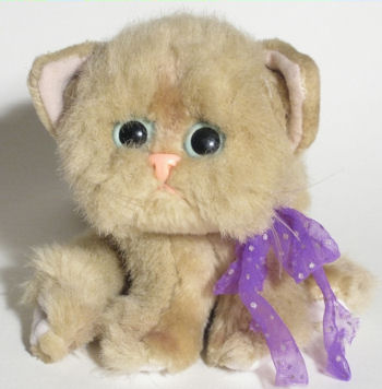 1992 Tyco Tan Kitty Kitty Kitten with Lavender Ribbon with Silver Polka Dots