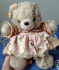 1996 Suntoys Cream Bear in Pink Dress with Print Apron