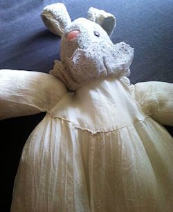 2000? White Rabbit with White Eyelet Lace Collar