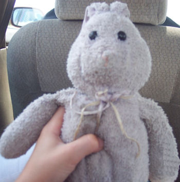 Large 2002 Lavender Rabbit with Thin Pink & Purple Ribbons