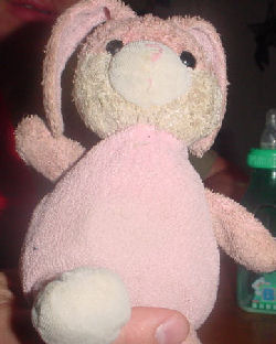 , Searching – 2005 Cracker Barrel PINK & WHITE Happy Easter RABBIT