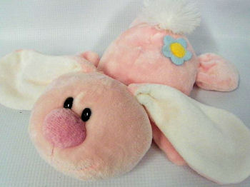 2007 Kelly Toy Pink Bunny with Blue Flower on Bottom