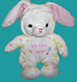 Walmart My First Easter 2008 White Rabbit with Pink and Green Spots wearing a Hood