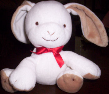 Small 2009 Carter's White Rabbit with Brown Paws & Ears