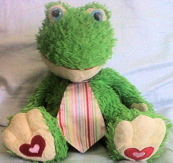 Large 2009 Target Green Frog Wearing Big Striped Tie with Hearts on Feet