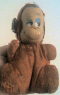 SMALL 60's Rubber Face Reddish Orange Velveteen Monkey