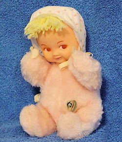 Eden? 60's Musical Blonde Doll in Pink Bunting with Turning Head