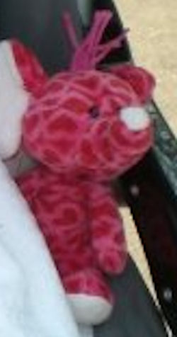 Small Pink Heart Print Elephant with Springy Neck that Wobbles