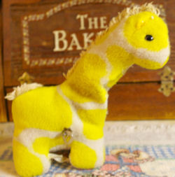 70's Eden Bright Yellow & White Musical Giraffe with Head that Moves