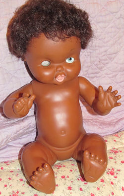 70's Famosa Black Squeezable Vinyl Baby Doll