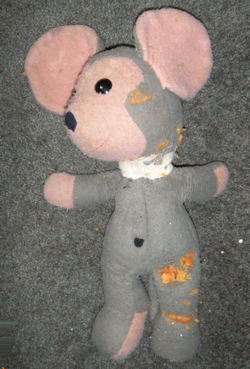70's Gray Mouse with Pink Face, Ears, Paws