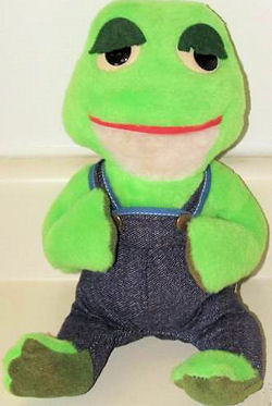 70's Knickerbocker Light and Dark Green Frog Wearing Dark Denim Overalls
