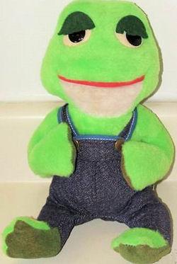 , FOUND – 70's Knickerbocker LIGHT & DARK GREEN FROG Wearing DARK DENIM OVERALLS