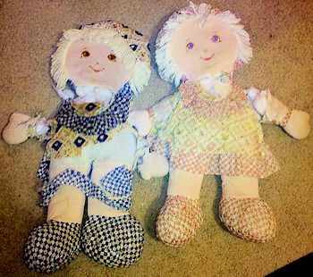 Large 90's Cloth Dolls in Pink or Navy Blue Print Dress with Bib, Booties, & Bonnet