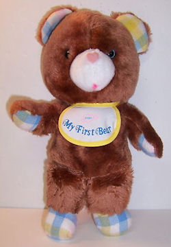 80's Amtoy Baby Soft Touch Brown My First Bear with Bib & Plaid Accents