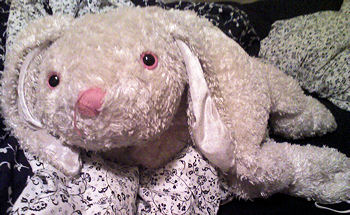 80's Large Floppy Beige Rabbit with Pink Nose & Eyes