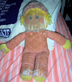 80's Blond Clown Doll Wearing Pink with Polka Dots