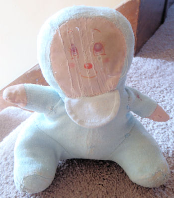 80's Blue Terry Seated Doll with Bonnet Silk Screen Face