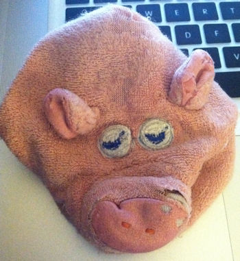 Pink 80s Fisher Price Animal Grabbers Pig