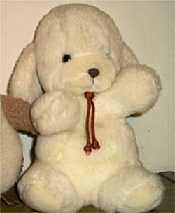 80's Hallmark GUND Small Seated White Lamb Wearing a Bolo Tie with a Rattle in the Tail