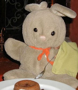Large 80's DAKIN Light Brown Rabbit with White Ears & Heart