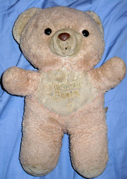 , Searching – 80's PINK Windup BEAR with WHITE TUMMY & MUZZLE Printed MUSICAL BEARS with NOTES