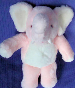80's Small Firmly Stuffed Seated Pink Elephant