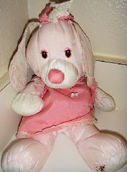 1987 Potpourri Press Pink Puffalump Style Rabbit with Darker Pink Dress
