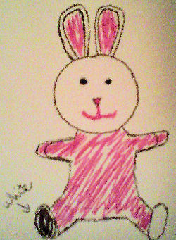 80's Pink & White Terry Rabbit with Upright Ears