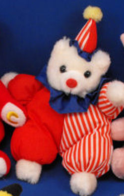 , FOUND – 80's RUSS Large HAPPY WHITE BEAR CLOWN Wearing RED & STRIPED Costume