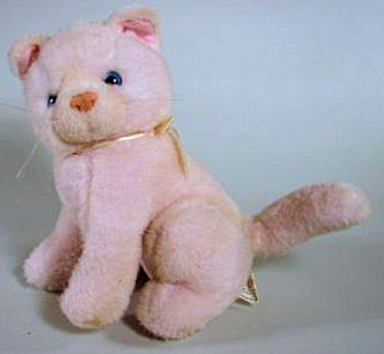 80's Seated Pink Knit Realistic Cat