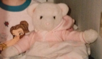 80s White Bear in Hooded Pink Sleeper
