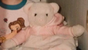 80s White Bear in Hooded Pink Sleeper