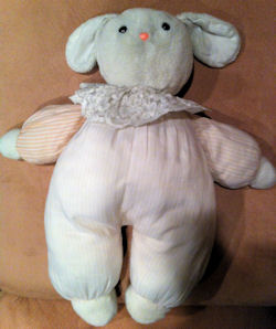 , Searching – 80's Plush Pink Stripy Bunny