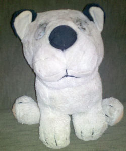 , Searching – 80's WINSLOW BIG HEAD Seated WHITE CAT with BLACK STRIPES