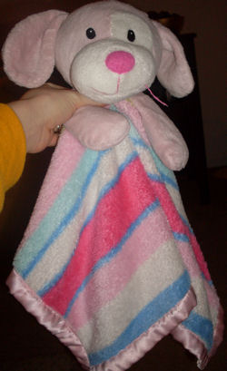 1994 Petting Zoo Pink Dog on Pink Striped Multicolor Blankie with White Eye Patch