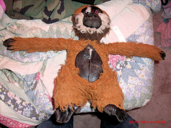 90's Brown Monkey with White Beard & Black Leather Hands, Feet, Face, Ears & Tummy