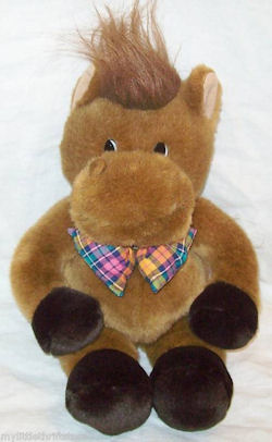 Commonwealth Plush Brown Horse w/Multicolored Bow Tie