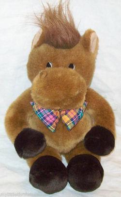 Commonwealth Plush Brown Horse w/Multicolored Bow Tie