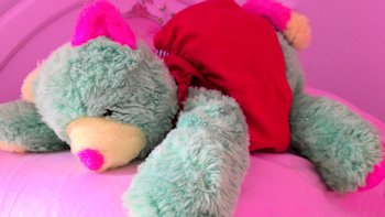 90's? Floppy Neon Green, Pink, Yellow Lying Down Bear