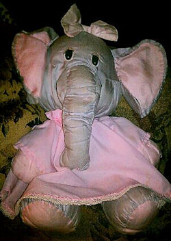 , FOUND – 90's Potpourri Press Puffalump Style BLUE GRAY ELEPHANT Wearing PINK DRESS