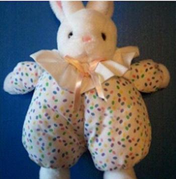 90's RUSS White Hoppity Rabbit Multi-Color Dots Wide Collar
