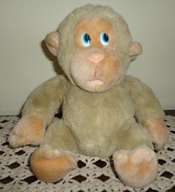 90's Tan Monkey with Open Mouth Blue Eyes to Left