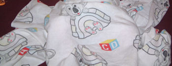 90's White 30 inch Square Baby Blanket with Gray Koala Bears, Pastel Igloos & ABC Blocks